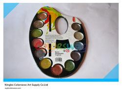 12색 2.8cm 물자 색깔 케이크 및 브러시 페인팅 및 그리기
