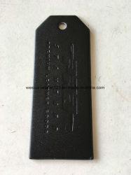 Черный кожаный чехол с логотипом Deboss Hangtag для одежды.