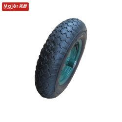 緑の縁の空気空気のゴム製手押し車の車輪3.50-8