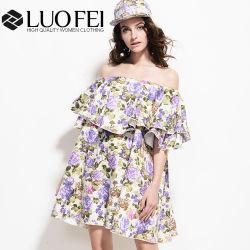 [هيغ-ند] أكبر من المعتاد خاصّ بالأزهار قطر [روفّل] ثوب من كتف