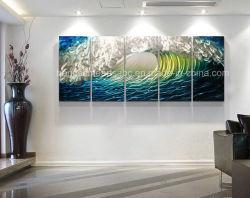 Handmade vague bleue paroi métallique Art Painting Home Decor Abstract la sculpture moderne cinq panneaux décoratifs contemporains