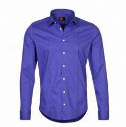 100% algodón de manga larga vestimenta casual Camisa del hombre (WXM181L)