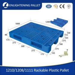1200X1000 op zwaar werk berekende Ingang 3 van Vier Manier Enige Zij Industriële Geluchte AntislipHDPE Rackable van de Agent/Duurzame Staal Versterkte van het Open Dek van Steunbalken Euro Plastic Pallet