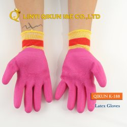 K-188 nylon polyester enduit de latex ondulée du travail de travail de protéger la sécurité industrielle de gants