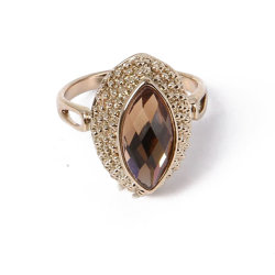 Bijoux de mode universel Brown Rhinestone Bague en or