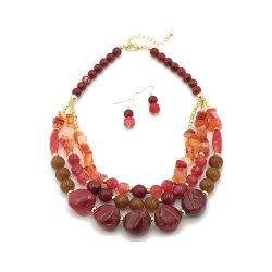 Waterdichte Fashion Jewelry Red Bead ketting Sieraden Set