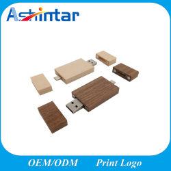 USB2.0/USB3.0棒OTGの電話USBのフラッシュ・メモリ人間の特徴をもつ電話のための木製USBのフラッシュ駆動機構