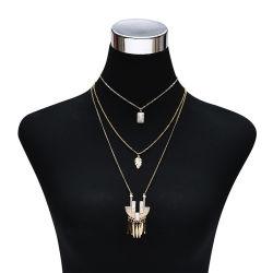 Simple multicapa de piedra natural de aleación de Bohemia Hoja Colgante Collar