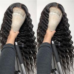 12 polegada solto onda profunda Remy 4X4 Lace Front de cabelo humano Perucas para mulheres negras