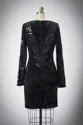 フランスのBalckの優雅なシンプルな設計のスパンコールのイブニング・ドレス