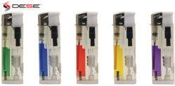 Chama em forma de jato Isqueiros Transparente Electrónica Isqueiro Ajustável chama cozinha churrascos Fogão Lareira Acendedor de vela (DQ-8815-LED)