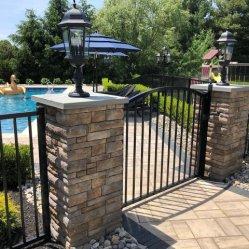 Aluminio/negro de la puerta de hierro forjado valla Piscina/jardín puerta valla