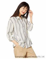 Toevallige Overhemd van de Gingang van de Controle van de Plaid van de Stof van dame New Fashion Long Sleeved Katoen het Gestreepte voor Vrouwen