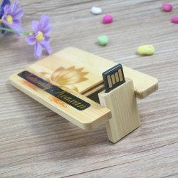 새겨진 로고 목조 신용 카드 USB 2.0 메모리 플래시 드라이브 Wedding Photography Company의 목재 케이스