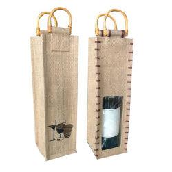 Оптовая торговля поощрения джута пеньки 750ml бутылку вина в сумке на подарочной упаковки Burlap