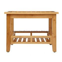 Nivel 2 Cuarto de baño taburete de madera de bambú de la Banqueta de baño ducha