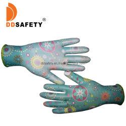 PU, die Polyester-Nylonzwischenlage-Arbeits-Garten-Handschuhe der Blumen-13gauge eintaucht