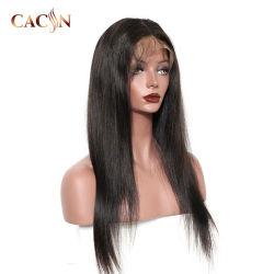 Commerce de gros Fashion noir vierge péruvien Cheveux humains peau mince Swiss Full Lace Wigs/Lace Front Wig