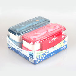 2 PC fixe de 2 couches de micro-ondes Multi-Compartment Boîte à lunch Food Box