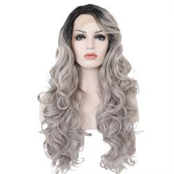 Onda d'argento lunga dell'ente grigio di Ombre del merletto di Glueless delle parrucche sintetiche Handmade della parte anteriore