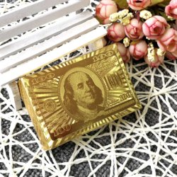 Chapado en oro 24K Juego de Poker de 54 naipes + Caja de madera para el casino del partido Don