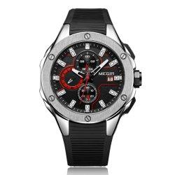 Megir schwarze Silikon-Band-Mann-Quarz-Armbanduhr