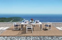 Fabrieksvoorraad Hoogwaardig Modern Aluminium Frame Teak Hout Armrest Outdoor Dining Chair En Tafelset Dining Furniture