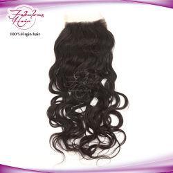 Fabrieksprijs Indiase natuurlijke Golf menselijke Hair Lace Base sluiting Stukken