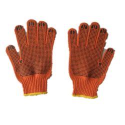 Orange 7g de algodón tejida de cadena doble de PVC guante de trabajo Guante de puntos