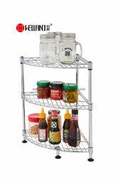 DIY multifuncional 3 camadas de armazenamento de Canto do tampo da mesa de cozinha em metal Spice Prateleira Rack