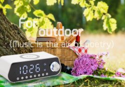 2019 La moda ha diseñado la tabla y Reloj de sobremesa con radio FM y Bluetooth 5.0+EDR la reproducción de música inalámbrica celular una carga rápida