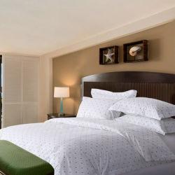 4 Peças Branco Algodão Completo Hotel Use Mancha roupa de impressão define