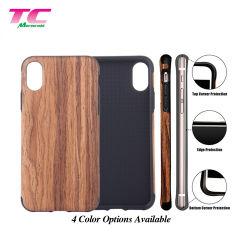 Hochwertige neue Ankunft Holzmuster Telefon Rückseite Soft TPU Handy Tasche für iPhone