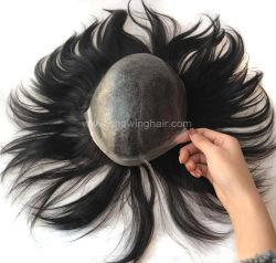 Super запасов природных индийского человеческого волоса впрыскиваемого топлива тонкой кожи Toupee