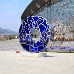 Empfindlicher Spiegel polierte Edelstahl-Skulptur kombiniertes Acrylmaterial