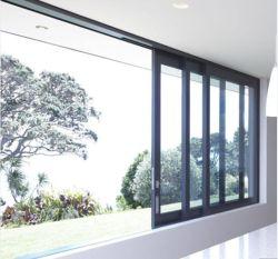 La Camera poco costosa di fabbricazione di Guangzhou Foshan di prezzi ha usato i portelli scorrevoli lustrati vetro di alluminio di effetto di uragano del doppio del blocco per grafici del metallo ed il disegno di Windows