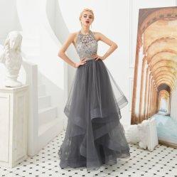 Dressセクシーな光沢があるシックな玉が付くホールターの首のAライン帝国ウエストのイブニング・ドレスのパーティー向きのドレスの名声の服の女性