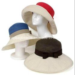 Señoras la moda de playa sombreros de paja, el papel sombrero de paja