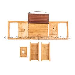 Banheira de bambu Bandeja Caddy expansível para banho de hidromassagem usando