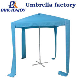 Tissu de polyester anti UV Parasol Parasol carrée de plein air pour patio/jardin/magasin avec Air-Vent, côtés et sac de transport 2 mètre