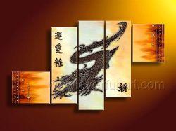 Het moderne Abstracte Dierlijke Olieverfschilderij van de Draak