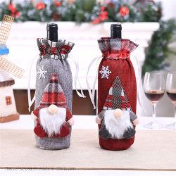 La bottiglia di vino di clausola dell'elfo della Santa insacca la decorazione domestica di natale di modo