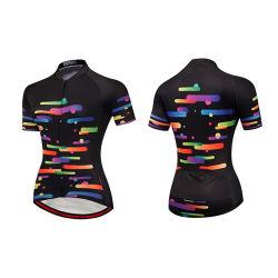 Frauen-Sommer-Breathable Lichtschutz-schnelles trocknendes kurzes Hülsen-Sport-Fahrrad Jersey