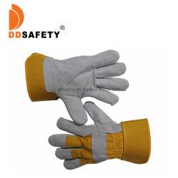 Cuoio spaccato della mucca con il Ce di funzionamento 4244 dei guanti di sicurezza del cotone giallo