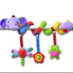 Nuevo estilo Kid Bell juguete de felpa bebé cama Musical sonaja colgante espiral de la PRAM CAMA ANIMAL Seguridad cochecito de bebé colgando Toy
