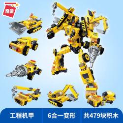 El bloque de construcción Qman Legoing deformación juguete Robot Mecha vehículo con el color amarillo 6 en 1 coche y el Robot Juguetes