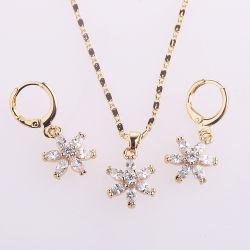 Boda moda anillo chapado en plata de aleación de oro Collar Arete joyas con perlas de cristal CZ