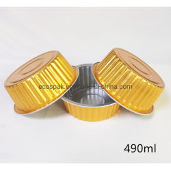 단단한 개방식 화로 둥근 직사각형 알루미늄 호일로 두껍게 하는 처분할 수 있는 식기 금 도시락 테이크아웃 상자 은종이 상자