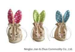 Sacchetto su ordinazione dell'illustrazione della corda del sacchetto del sacchetto del regalo del coniglietto di pasqua di stampa del poliestere
