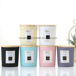 Porte-bougie en verre rond blanc de couleur noire, pot à bougie en verre Avec couvercle Bamboo 10 oz